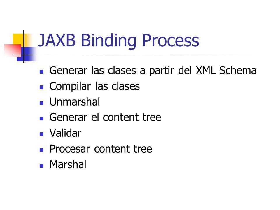 Generar las clases a partir del XML Schema Compilar las clases Unmarshal Generar el content tree Validar Procesar content tree Marshal