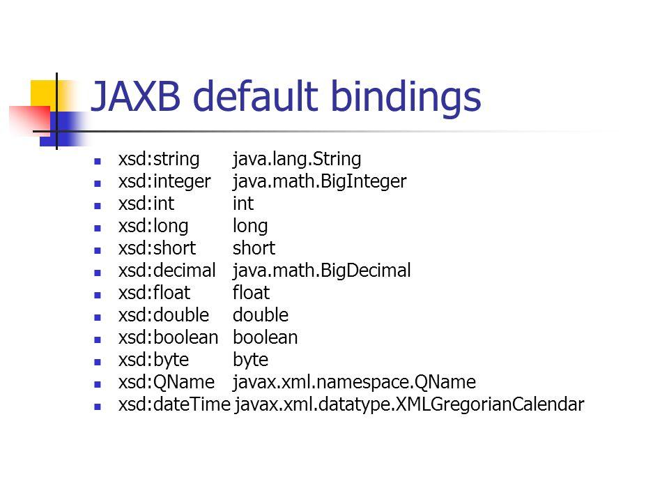 JAXB default bindings xsd:string java.lang.String xsd:integer java.math.BigInteger xsd:int int xsd:long long xsd:short short xsd:decimal java.math.BigDecimal xsd:float float xsd:double double xsd:boolean boolean xsd:byte byte xsd:QName javax.xml.namespace.QName xsd:dateTime javax.xml.datatype.XMLGregorianCalendar