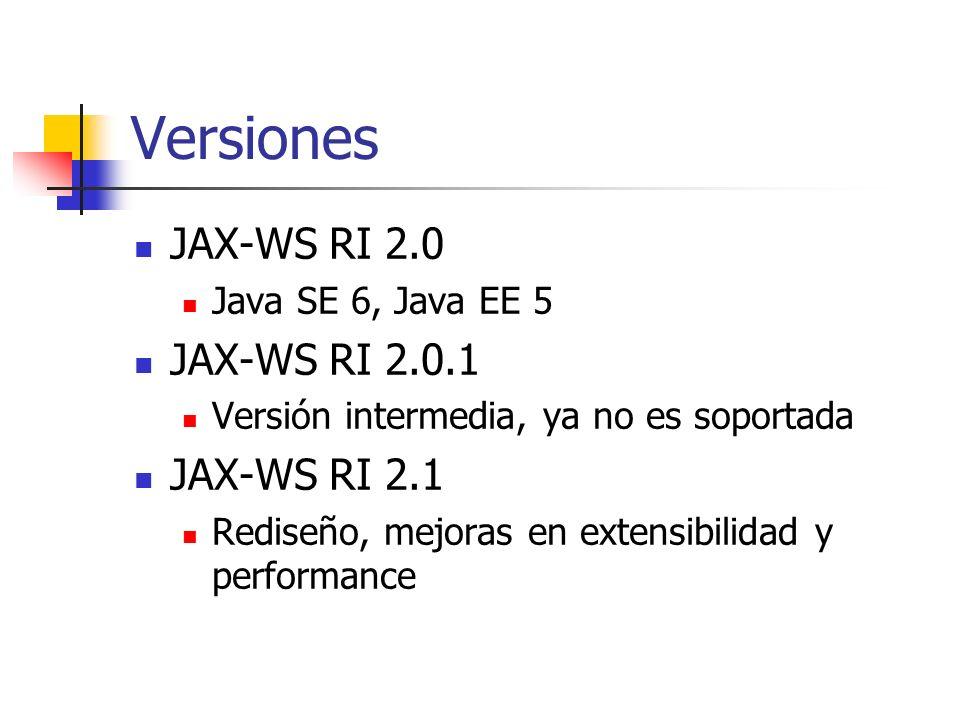 Versiones JAX-WS RI 2.0 Java SE 6, Java EE 5 JAX-WS RI 2.0.1 Versión intermedia, ya no es soportada JAX-WS RI 2.1 Rediseño, mejoras en extensibilidad