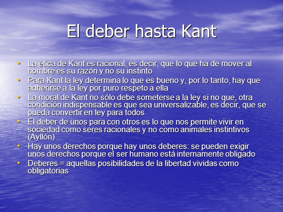 El deber hasta Kant La ética de Kant es racional, es decir, que lo que ha de mover al hombre es su razón y no su instinto La ética de Kant es racional