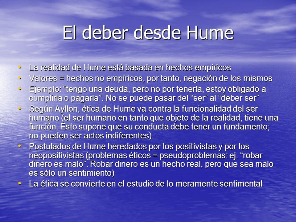 El deber desde Hume La realidad de Hume está basada en hechos empíricos La realidad de Hume está basada en hechos empíricos Valores = hechos no empíri