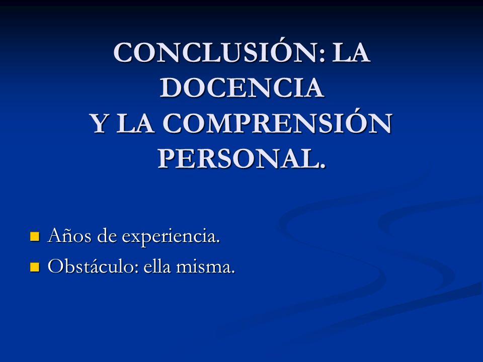 CONCLUSIÓN: LA DOCENCIA Y LA COMPRENSIÓN PERSONAL. Años de experiencia. Años de experiencia. Obstáculo: ella misma. Obstáculo: ella misma.