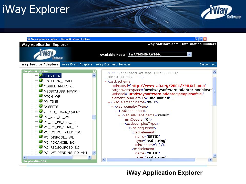 Copyright © 2005 iWay Software 31 iWay Application Explorer iWay Explorer