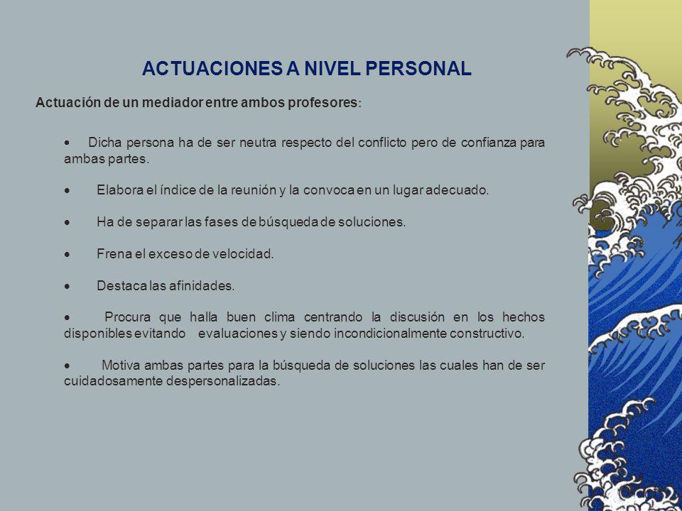 ACTUACIONES A NIVEL PERSONAL Actuación de un mediador entre ambos profesores : Dicha persona ha de ser neutra respecto del conflicto pero de confianza