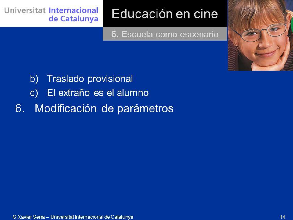© Xavier Serra – Universitat Internacional de Catalunya14 Educación en cine b)Traslado provisional c)El extraño es el alumno 6.Modificación de parámetros 6.