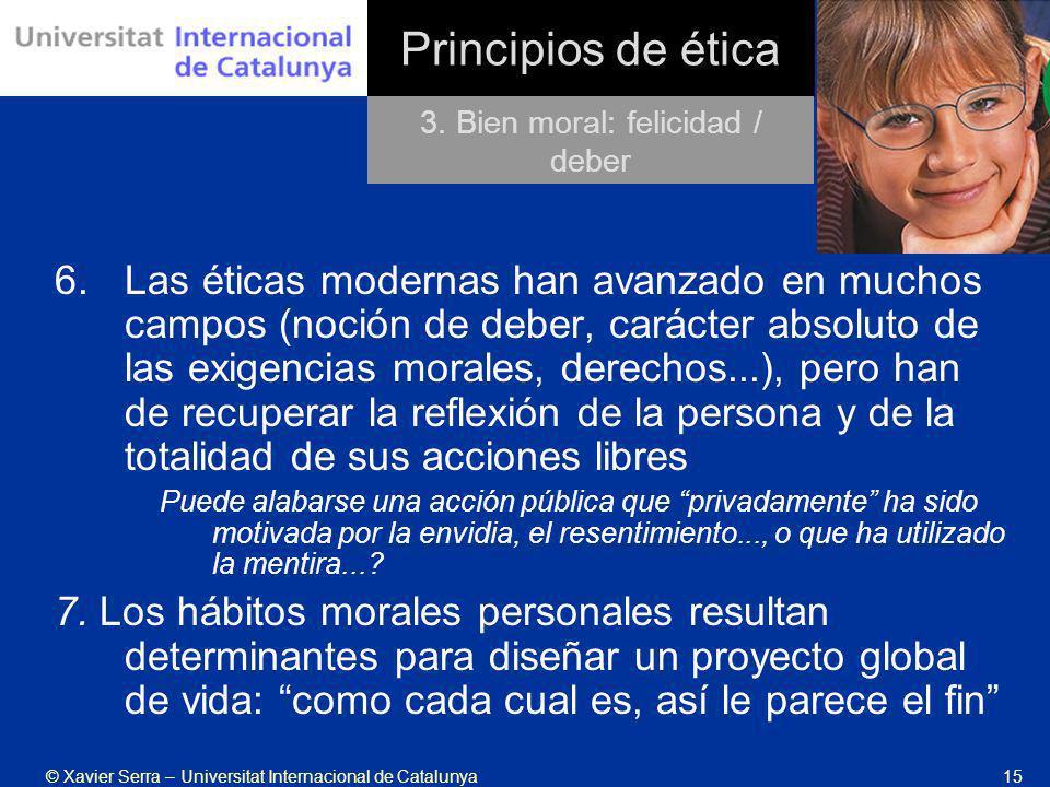 © Xavier Serra – Universitat Internacional de Catalunya15 Principios de ética 6.Las éticas modernas han avanzado en muchos campos (noción de deber, ca
