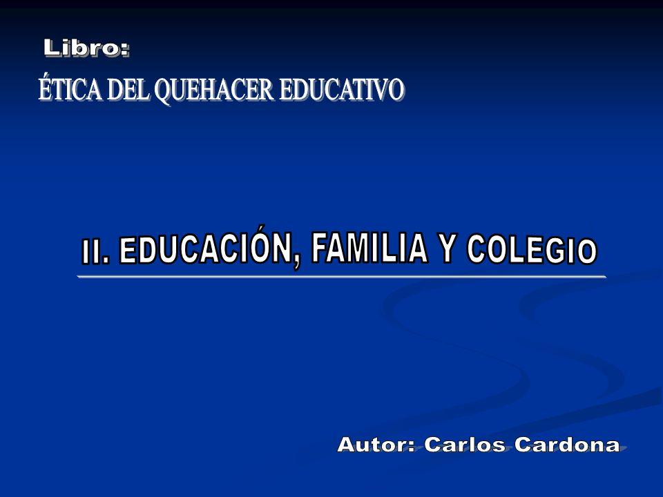EDUCACIÓN COLEGIO FAMILIA Por su condición de persona el hombre tiene derecho a ser educado Lugar primordial Padres: primeros educadores.