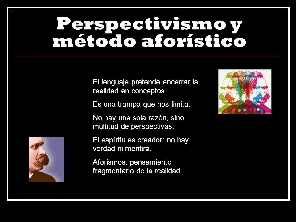 Perspectivismo y método aforístico El lenguaje pretende encerrar la realidad en conceptos. Es una trampa que nos limita. No hay una sola razón, sino m
