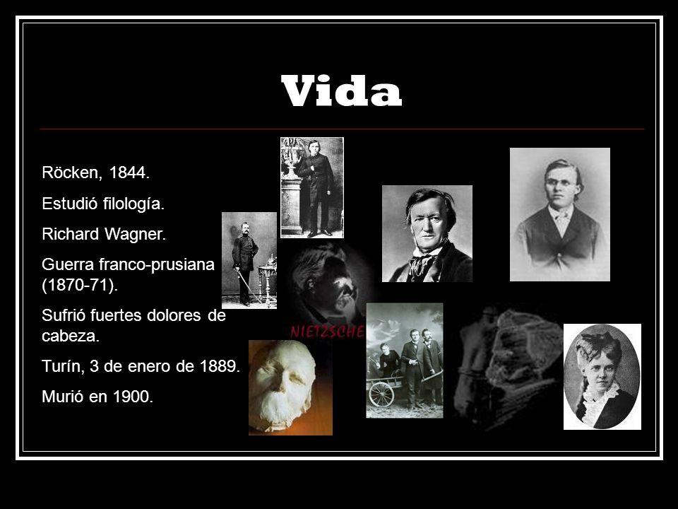 Vida Röcken, 1844. Estudió filología. Richard Wagner. Guerra franco-prusiana (1870-71). Sufrió fuertes dolores de cabeza. Turín, 3 de enero de 1889. M