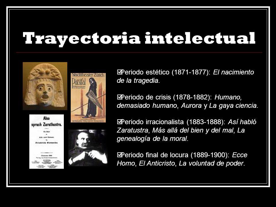 Trayectoria intelectual Periodo estético (1871-1877): El nacimiento de la tragedia. Periodo de crisis (1878-1882): Humano, demasiado humano, Aurora y