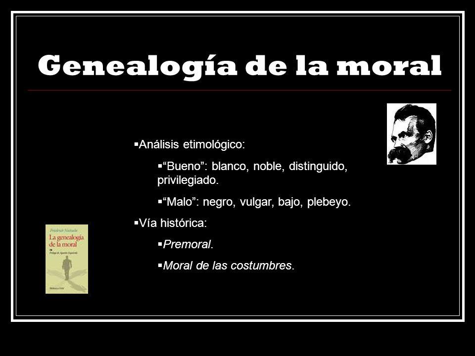 Genealogía de la moral Análisis etimológico: Bueno: blanco, noble, distinguido, privilegiado. Malo: negro, vulgar, bajo, plebeyo. Vía histórica: Premo