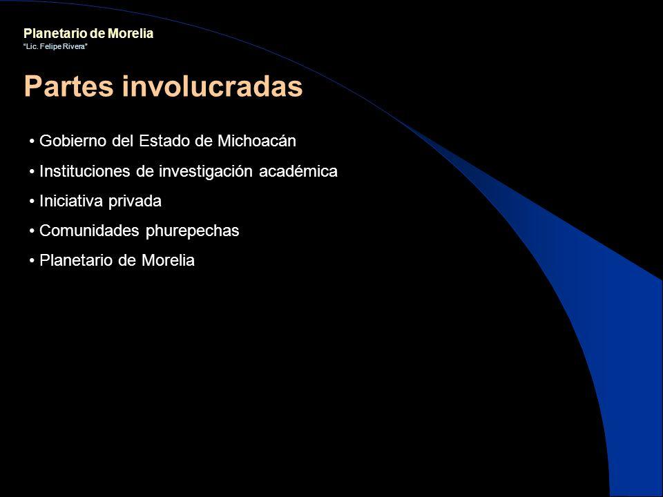 Planetario de Morelia Lic. Felipe Rivera Gobierno del Estado de Michoacán Instituciones de investigación académica Iniciativa privada Comunidades phur