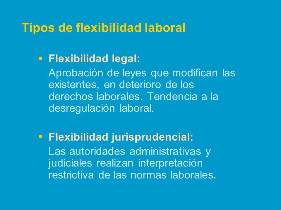 Flexibilidad legal: Aprobación de leyes que modifican las existentes, en deterioro de los derechos laborales. Tendencia a la desregulación laboral. Fl