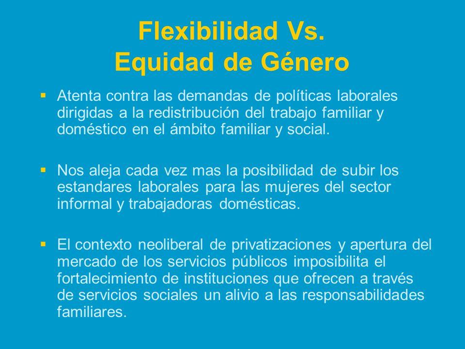 Flexibilidad Vs. Equidad de Género Atenta contra las demandas de políticas laborales dirigidas a la redistribución del trabajo familiar y doméstico en