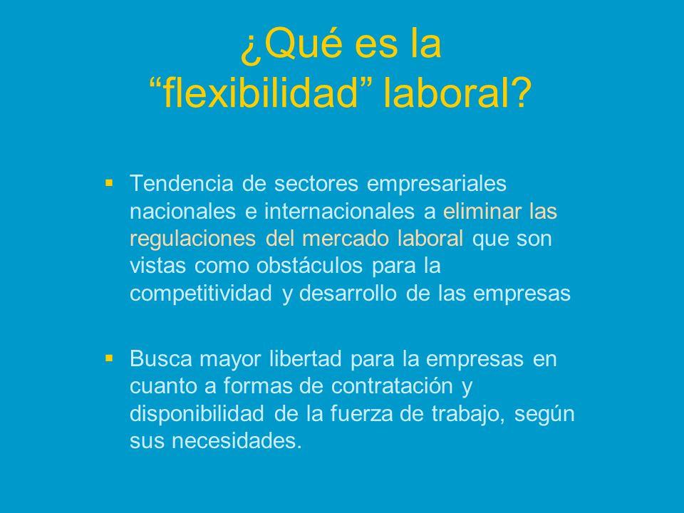 ¿Qué es la flexibilidad laboral? Tendencia de sectores empresariales nacionales e internacionales a eliminar las regulaciones del mercado laboral que