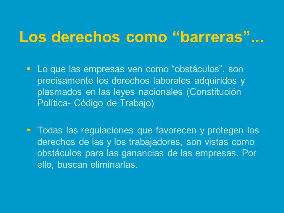 Los derechos como barreras... Lo que las empresas ven como obstáculos, son precisamente los derechos laborales adquiridos y plasmados en las leyes nac