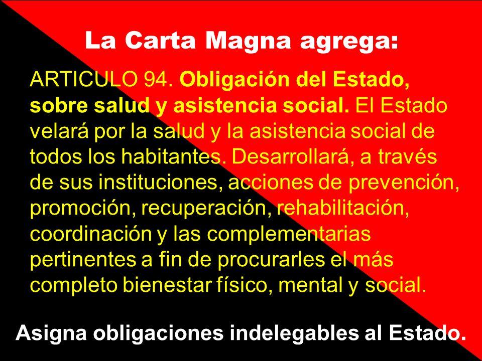 ARTICULO 94. Obligación del Estado, sobre salud y asistencia social. El Estado velará por la salud y la asistencia social de todos los habitantes. Des