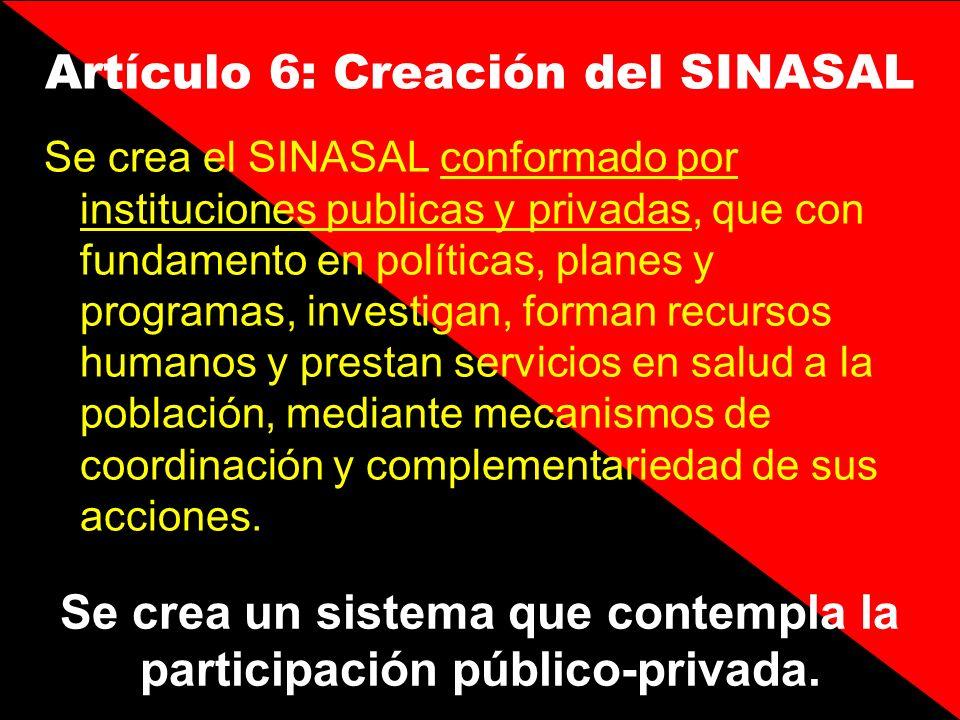 Se crea el SINASAL conformado por instituciones publicas y privadas, que con fundamento en políticas, planes y programas, investigan, forman recursos