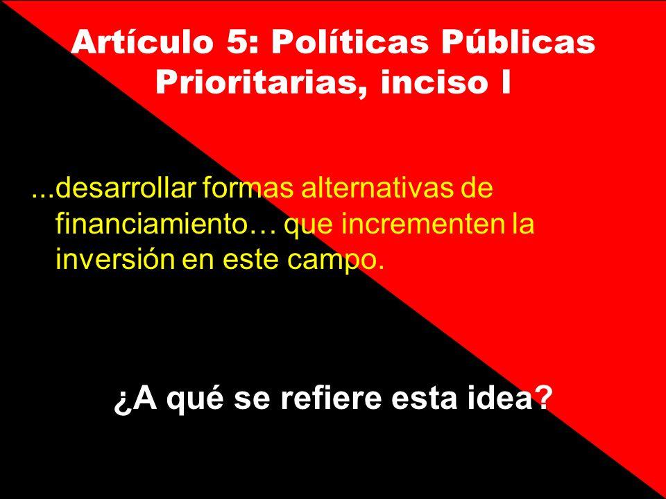 Artículo 5: Políticas Públicas Prioritarias, inciso l...desarrollar formas alternativas de financiamiento… que incrementen la inversión en este campo.