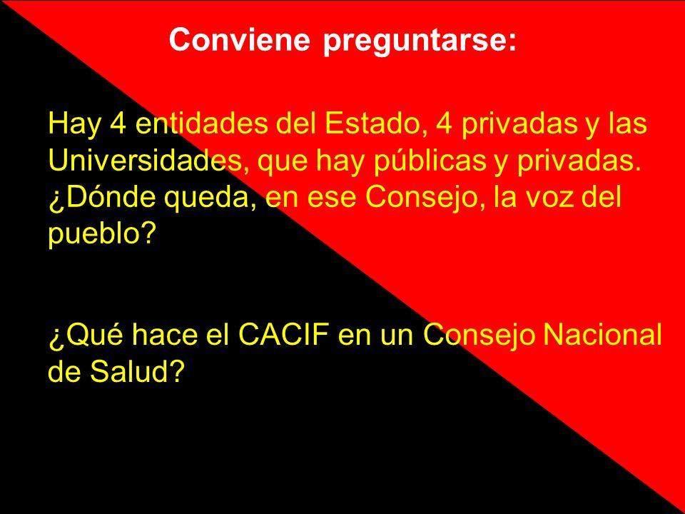Conviene preguntarse: ¿Qué hace el CACIF en un Consejo Nacional de Salud? Hay 4 entidades del Estado, 4 privadas y las Universidades, que hay públicas