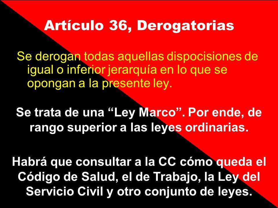 Artículo 36, Derogatorias Se derogan todas aquellas dispocisiones de igual o inferior jerarquía en lo que se opongan a la presente ley. Se trata de un