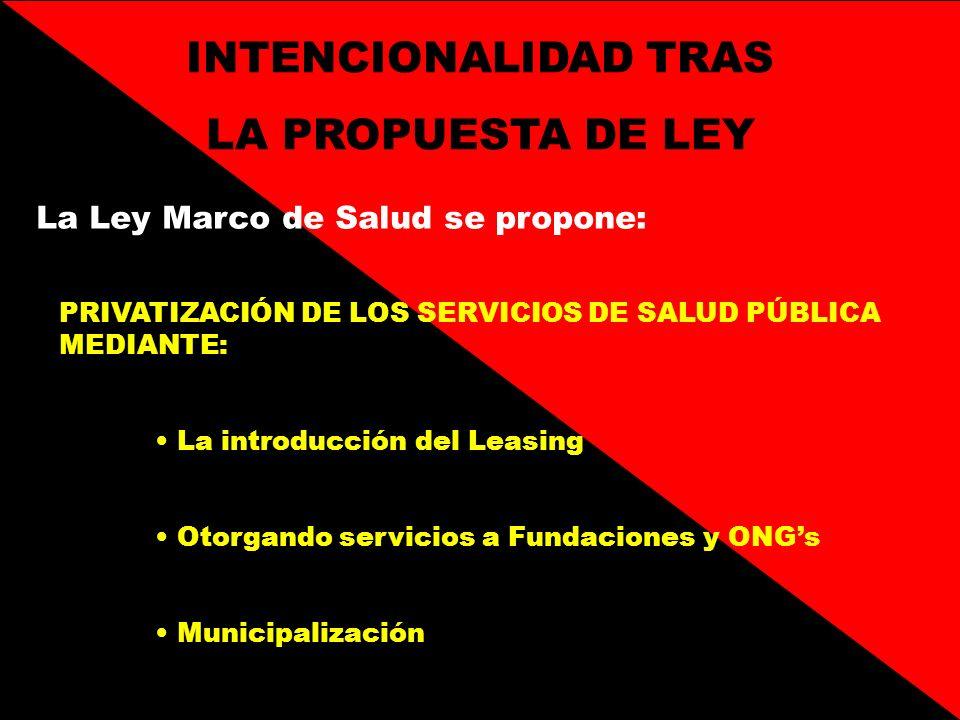 INTENCIONALIDAD TRAS LA PROPUESTA DE LEY La Ley Marco de Salud se propone: PRIVATIZACIÓN DE LOS SERVICIOS DE SALUD PÚBLICA MEDIANTE: La introducción d