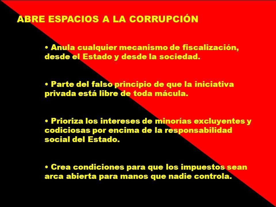 ABRE ESPACIOS A LA CORRUPCIÓN Anula cualquier mecanismo de fiscalización, desde el Estado y desde la sociedad. Parte del falso principio de que la ini