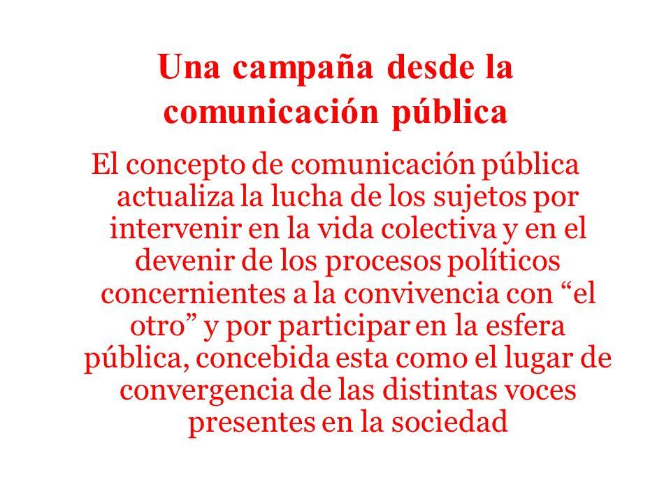Una campaña desde la comunicación pública El concepto de comunicación pública actualiza la lucha de los sujetos por intervenir en la vida colectiva y en el devenir de los procesos políticos concernientes a la convivencia con el otro y por participar en la esfera pública, concebida esta como el lugar de convergencia de las distintas voces presentes en la sociedad