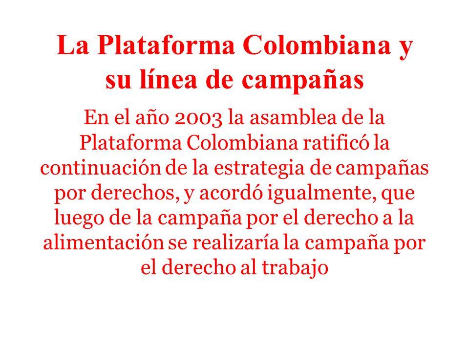 Porqué una campaña Coaliciones sociales en todo el mundo están desatando campañas globales sobre TRABAJO DECENTE El tema del trabajo, la creación de empleo, la promoción de los derechos laborales está en el primer lugar de la agenda nacional El tema es crucial en la definición del Tratado de Libre Comercio entre Colombia y los Estados Unidos