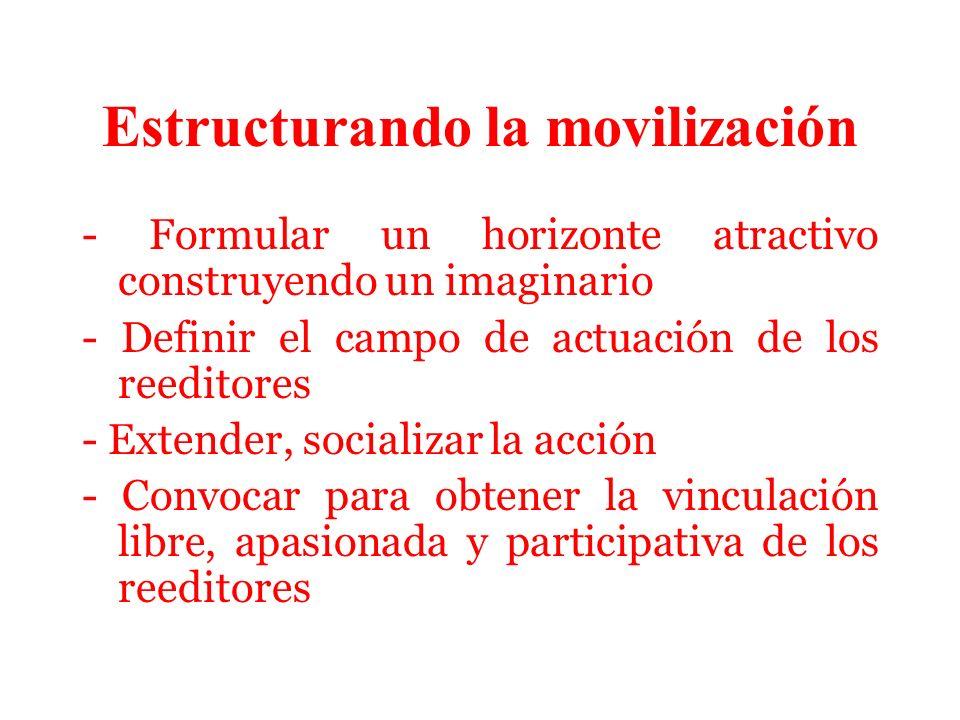Estructurando la movilización - Formular un horizonte atractivo construyendo un imaginario - Definir el campo de actuación de los reeditores - Extender, socializar la acción - Convocar para obtener la vinculación libre, apasionada y participativa de los reeditores