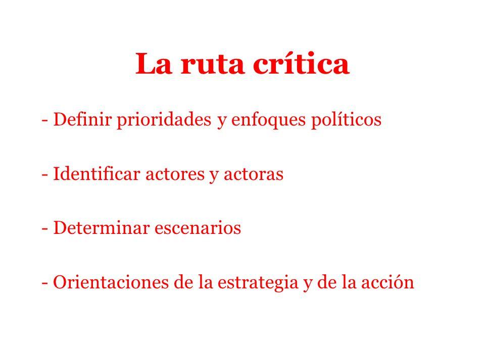 La ruta crítica - Definir prioridades y enfoques políticos - Identificar actores y actoras - Determinar escenarios - Orientaciones de la estrategia y de la acción
