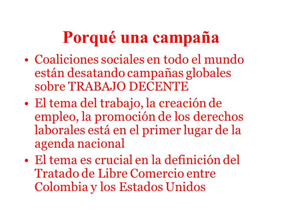 Porqué una campaña II La calidad del empleo que se está generando ha caído dramáticamente en los últimos 20 años Se ha fortalecido la acción global sindical, se ha fortalecido un visión de exigibilidad global de derechos, entre los cuales los laborales son estratégicos Acuerdo tripartito de la CGT, la CTC y la CUT, el gobierno colombiano y los empleadores suscrito en 2006