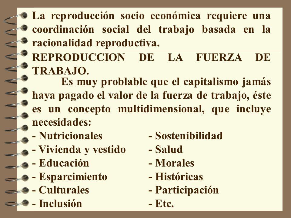 La reproducción socio económica requiere una coordinación social del trabajo basada en la racionalidad reproductiva. REPRODUCCION DE LA FUERZA DE TRAB