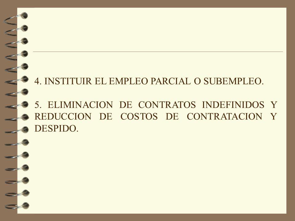 4. INSTITUIR EL EMPLEO PARCIAL O SUBEMPLEO. 5. ELIMINACION DE CONTRATOS INDEFINIDOS Y REDUCCION DE COSTOS DE CONTRATACION Y DESPIDO.