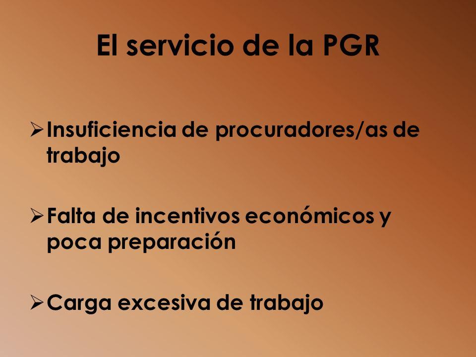 El servicio de la PGR Insuficiencia de procuradores/as de trabajo Falta de incentivos económicos y poca preparación Carga excesiva de trabajo