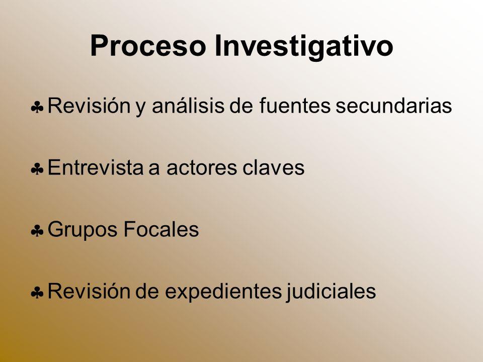 Proceso Investigativo Revisión y análisis de fuentes secundarias Entrevista a actores claves Grupos Focales Revisión de expedientes judiciales