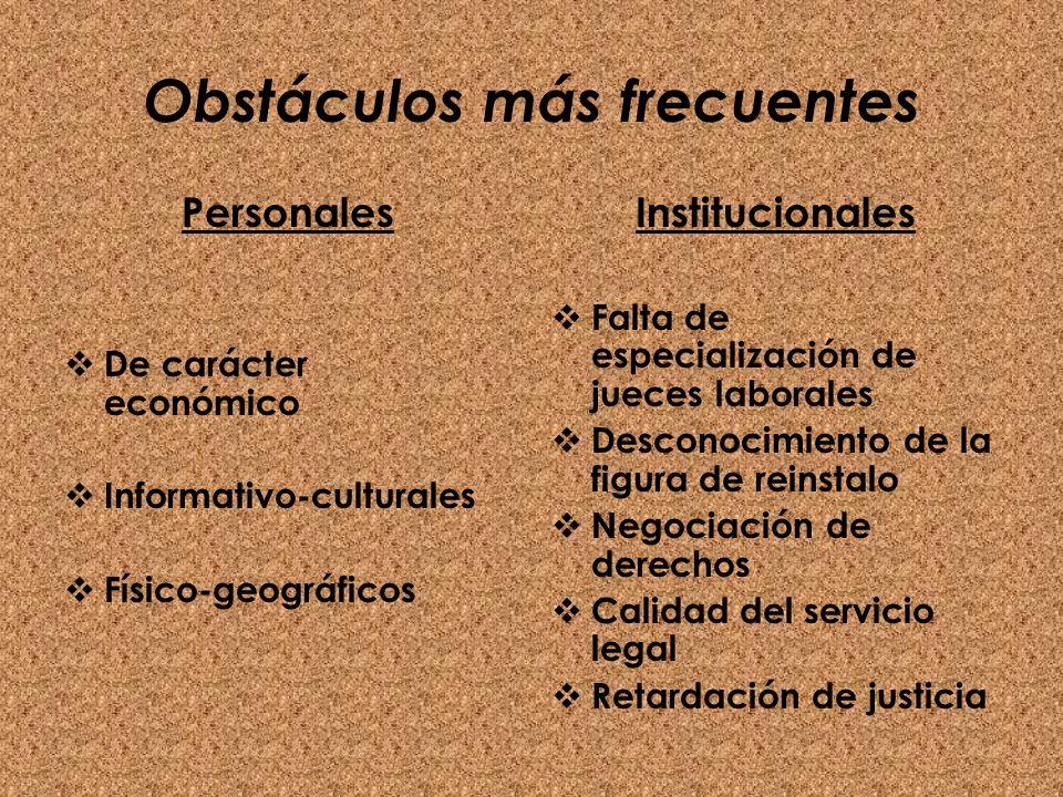 Obstáculos más frecuentes Personales De carácter económico Informativo-culturales Físico-geográficos Institucionales Falta de especialización de juece