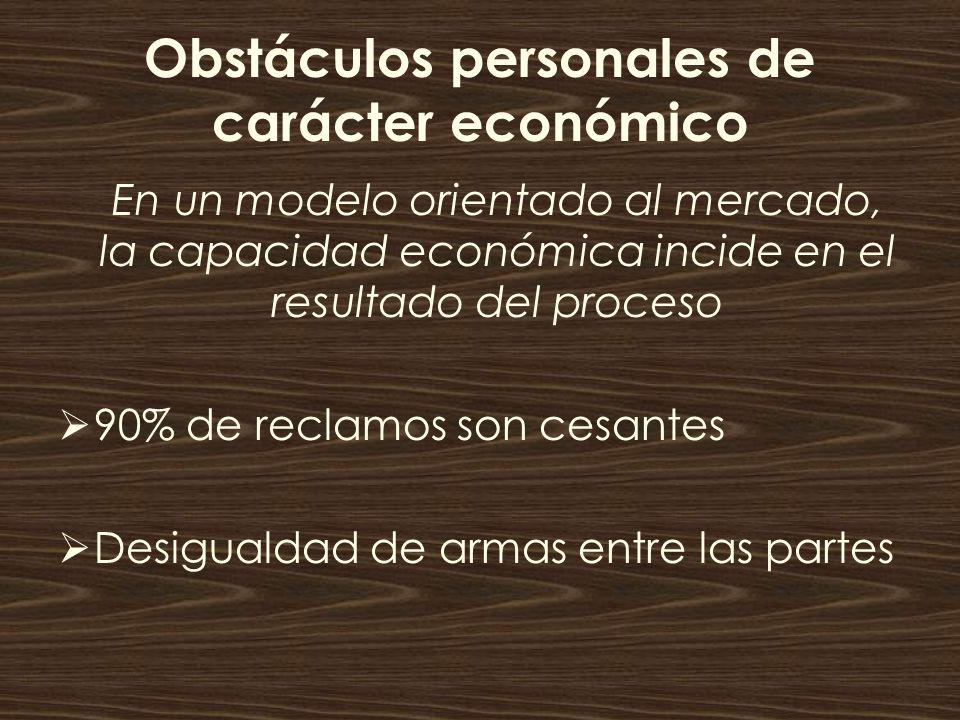 Obstáculos personales de carácter económico En un modelo orientado al mercado, la capacidad económica incide en el resultado del proceso 90% de reclam