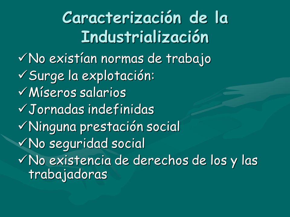 Caracterización de la Industrialización No existían normas de trabajo No existían normas de trabajo Surge la explotación: Surge la explotación: Mísero
