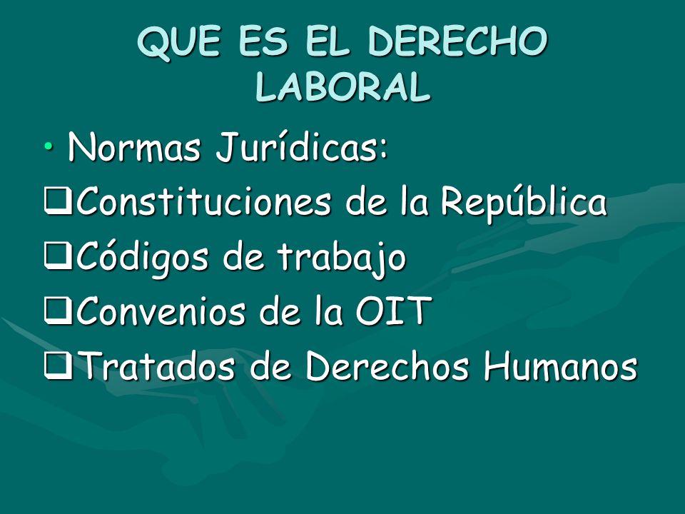 QUE ES EL DERECHO LABORAL Normas Jurídicas:Normas Jurídicas: Constituciones de la República Constituciones de la República Códigos de trabajo Códigos