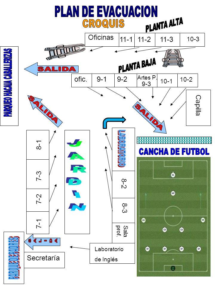 9-1 9-2ofic. 8-1 7-3 7-1 7-2 8-2 8-3 Sala prof. Laboratorio de Inglés Secretaría Oficinas 10-3 10-1 9-3 11-211-3 10-2 11-1 Artes P. Capilla