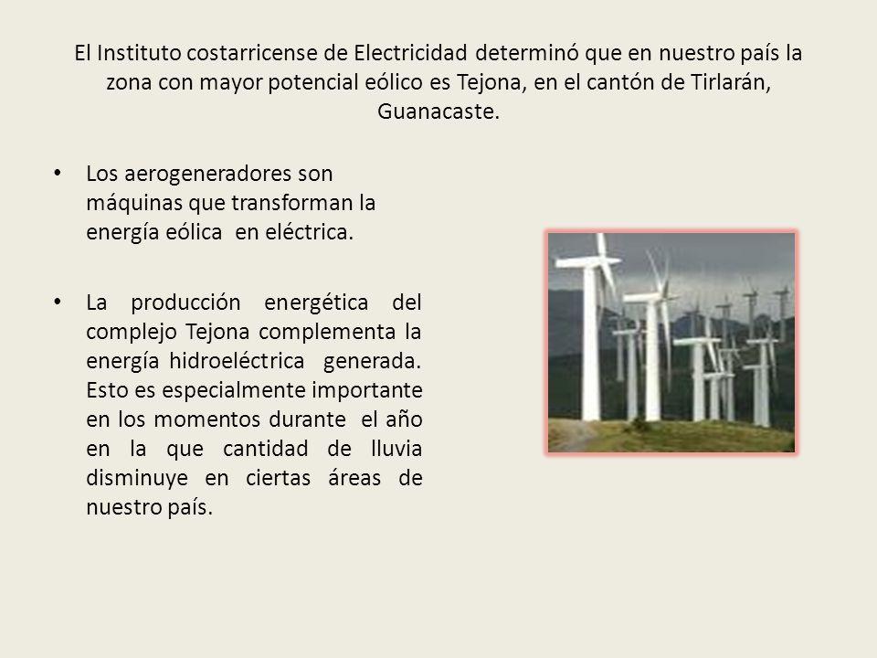 El Instituto costarricense de Electricidad determinó que en nuestro país la zona con mayor potencial eólico es Tejona, en el cantón de Tirlarán, Guana