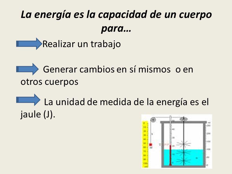 La energía es la capacidad de un cuerpo para… Realizar un trabajo Generar cambios en sí mismos o en otros cuerpos La unidad de medida de la energía es