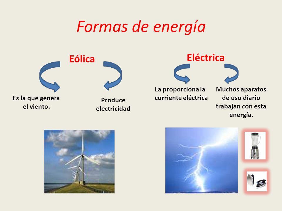 Formas de energía Eólica Eléctrica Es la que genera el viento. La proporciona la corriente eléctrica Muchos aparatos de uso diario trabajan con esta e