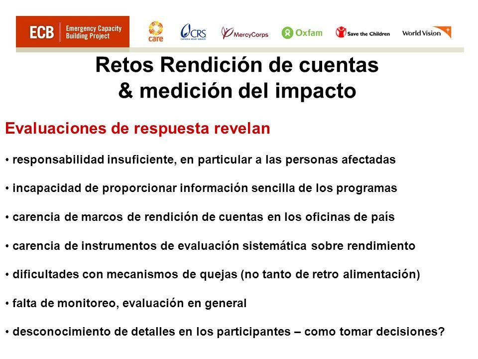Retos Rendición de cuentas & medición del impacto Evaluaciones de respuesta revelan responsabilidad insuficiente, en particular a las personas afectad