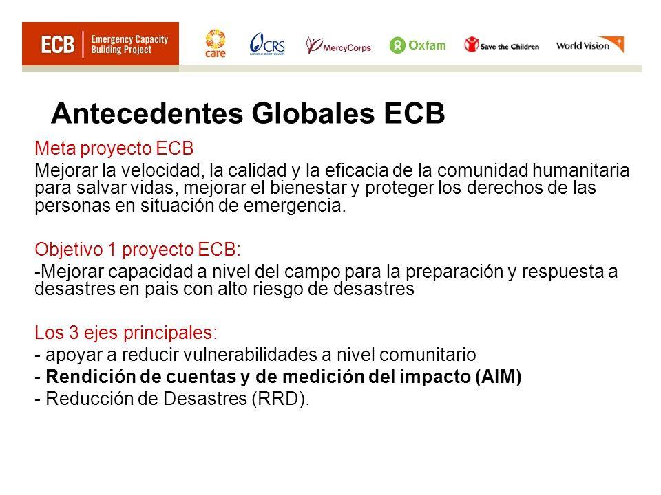 Antecedentes Globales ECB Meta proyecto ECB Mejorar la velocidad, la calidad y la eficacia de la comunidad humanitaria para salvar vidas, mejorar el b