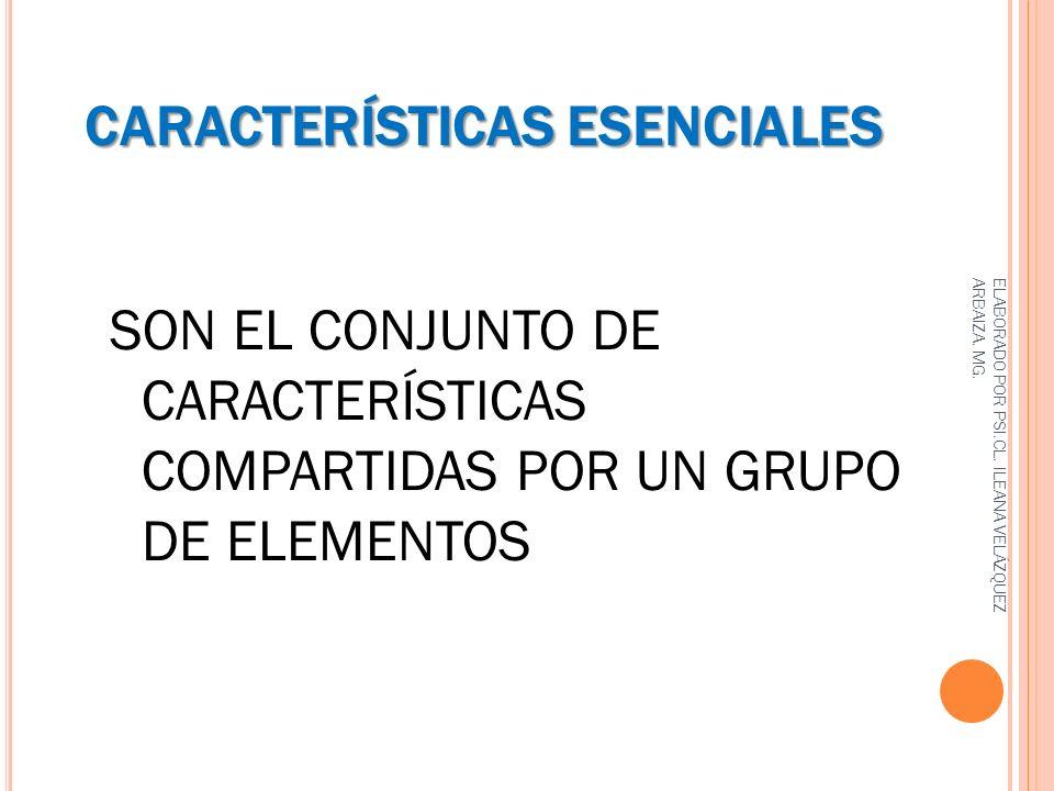 CARACTERÍSTICAS ESENCIALES SON EL CONJUNTO DE CARACTERÍSTICAS COMPARTIDAS POR UN GRUPO DE ELEMENTOS ELABORADO POR PSI.CL. ILEANA VELÁZQUEZ ARBAIZA. MG