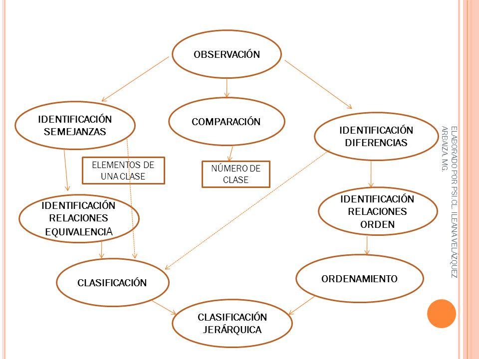OBSERVACIÓN IDENTIFICACIÓN SEMEJANZAS IDENTIFICACIÓN DIFERENCIAS IDENTIFICACIÓN RELACIONES ORDEN IDENTIFICACIÓN RELACIONES EQUIVALENCI A COMPARACIÓN C