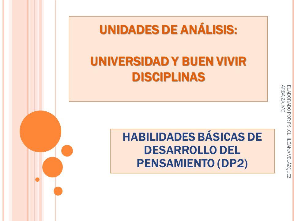 UNIDADES DE ANÁLISIS: UNIVERSIDAD Y BUEN VIVIR DISCIPLINAS HABILIDADES BÁSICAS DE DESARROLLO DEL PENSAMIENTO (DP2) ELABORADO POR PSI.CL. ILEANA VELÁZQ