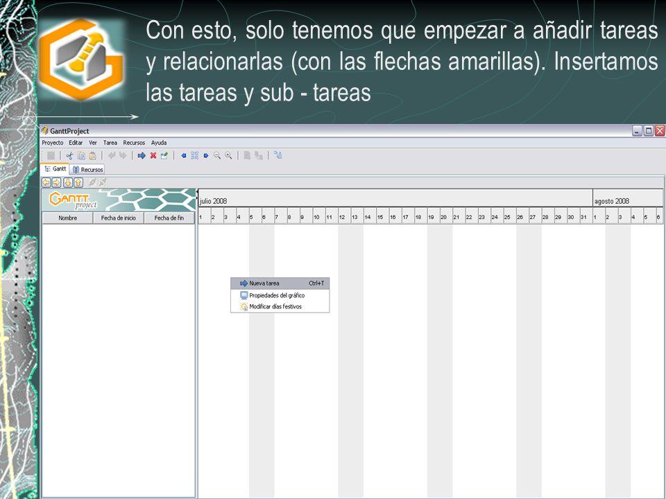 Con esto, solo tenemos que empezar a añadir tareas y relacionarlas (con las flechas amarillas). Insertamos las tareas y sub - tareas